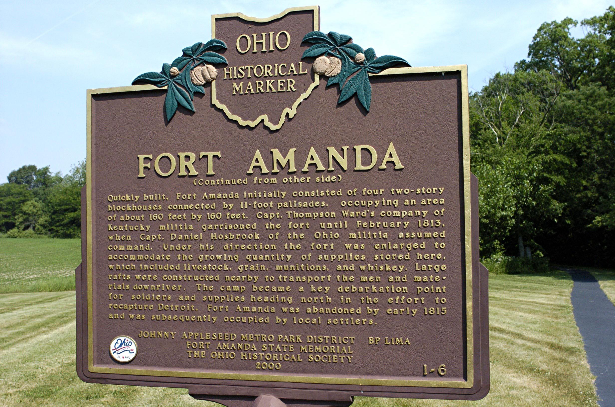 Sign at Fort Amanda