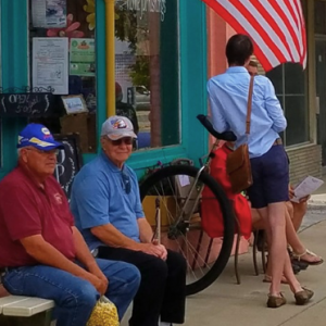 Sitting outside downtown Wapakoneta